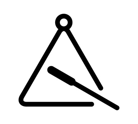 Triangle musical instrument with beater flat icon for music apps and websites