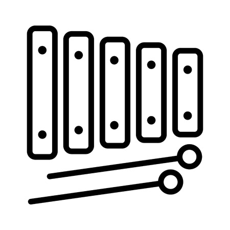 orchestral: Xylophone musical instrument with mallets line art icon for music apps and websites