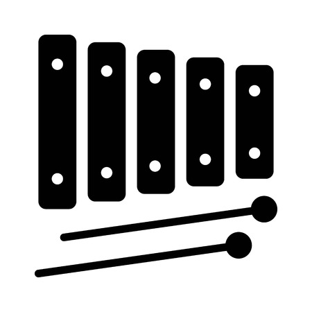 Xylophone musical instrument with mallets flat icon for music apps and websites Çizim