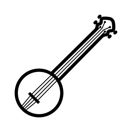 Banjo musical instrument with strings line art icon for music apps and websites Illustration