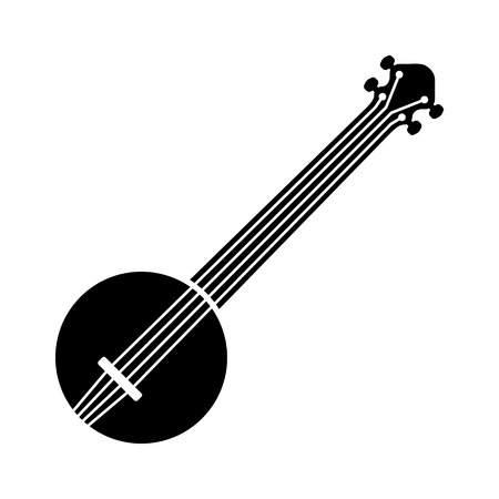 Banjo musical instrument with strings flat icon for music apps and websites Illustration