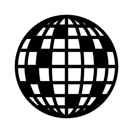 Disco ball, mirror or glitter ball flat vector icon for music apps and websites Illustration