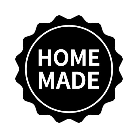 Homemade  home made label, badge, burst, seal or sticker flt vector icon for food packaging
