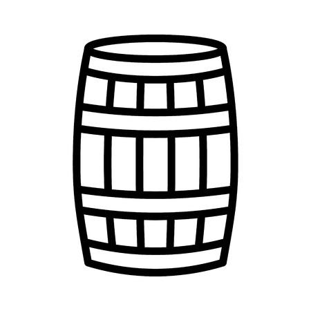 Barril de vino de madera de roble, barril o tonel de iconos de vectores gráficos de línea para aplicaciones y sitios web Foto de archivo - 69495466