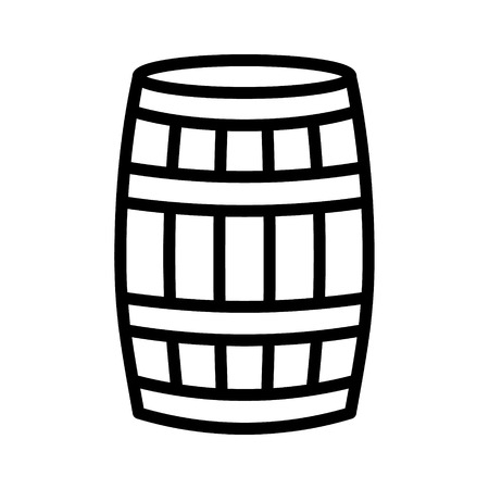 Wine wooden oak barrel, cask or tun line art vector icon for apps and websites Illustration