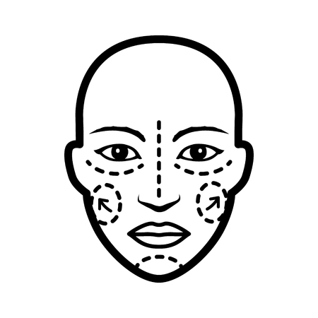minimally: Plastic  cosmetic surgery on face with dotted lines flat vector icon for medical apps and websites