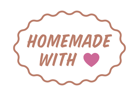 flimsy: Homemade or home made with love  heart color label, badge, seal or sticker vector illustration for food packaging