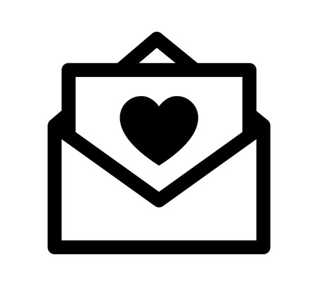 Love letter, note or message with heart vector line art icon for apps and websites