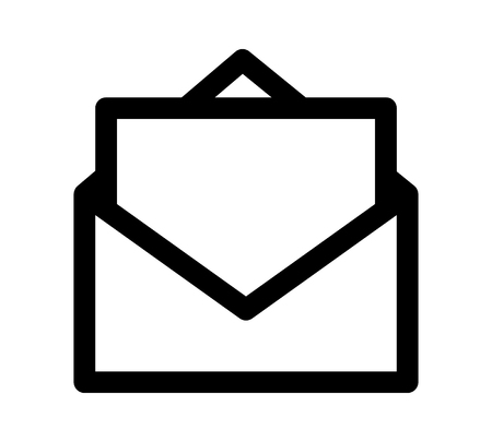 comunicación escrita: Opened envelope with letter or message vector line art icon for apps and websites
