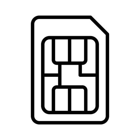 SIM カードまたはサブスクライバー id/身分証明書モジュール チップ ライン アート ベクトルのアプリと web サイトのアイコン