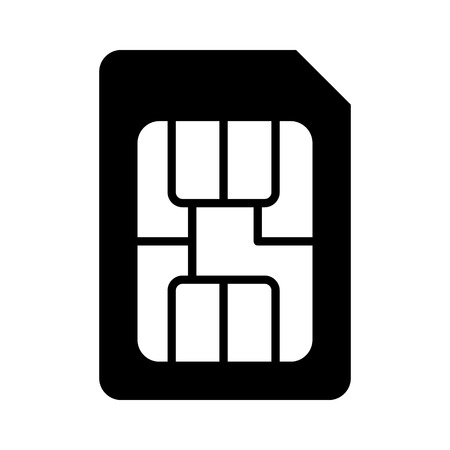 SIM card or subscriber identity  identification module chip flat vector icon for apps and websites