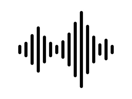 Sound / audio wave or soundwave line art vector icon for music apps and websites