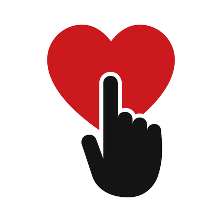 dating and romance: Hand touch or touching heart flat vector icon for apps and websites Illustration