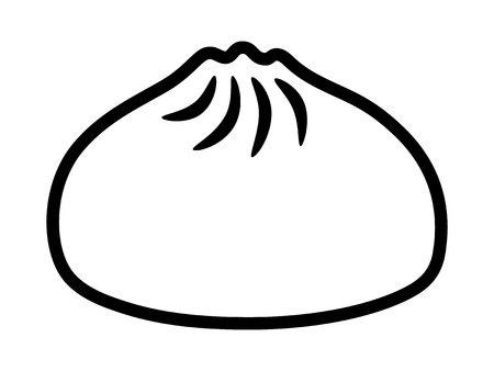 Baozi or bao - Chinese steamed bun line art vector icon for food apps and websites Vettoriali