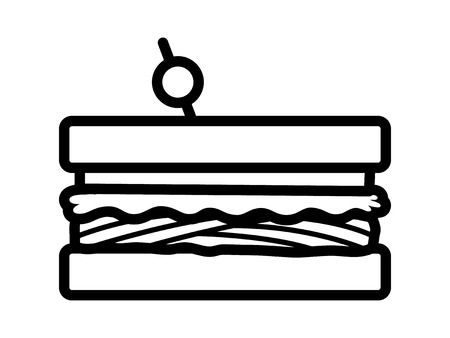 Sandwich with meat, lettuce and tomatoes line art vector icon for food apps and websites Ilustrace