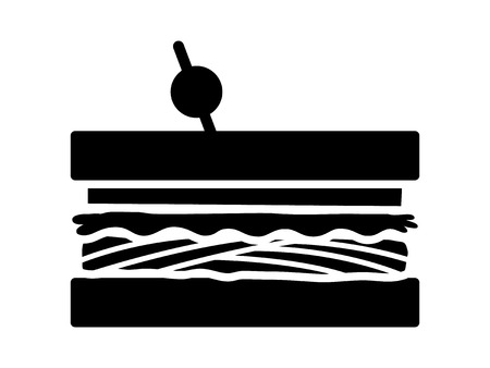 Sandwich with meat, lettuce and tomatoes flat vector icon for food apps and websites