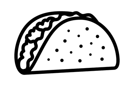 Taco with tortilla shell Mexican lunch line art vector icon for food apps and websites