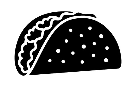 Taco with tortilla shell Mexican lunch flat vector icon for food apps and websites