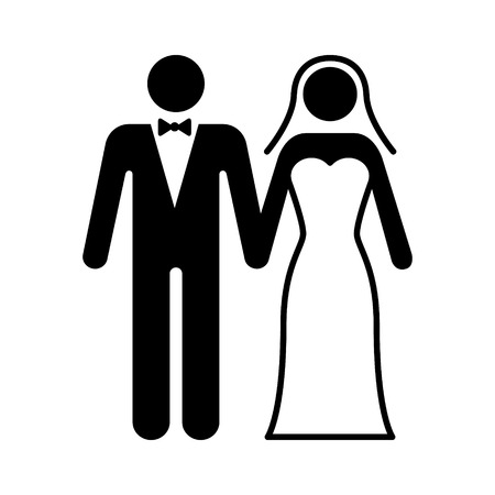 getting married: A couple getting married at a wedding ceremony flat icon for marriage apps and websites