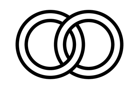 Wedding rings linked together in the symbol of marriage line art vector icon for apps and websites