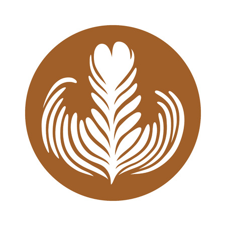 rosetta: Latte  espresso art of a rosette leaf flat color vector icon for coffee apps and websites