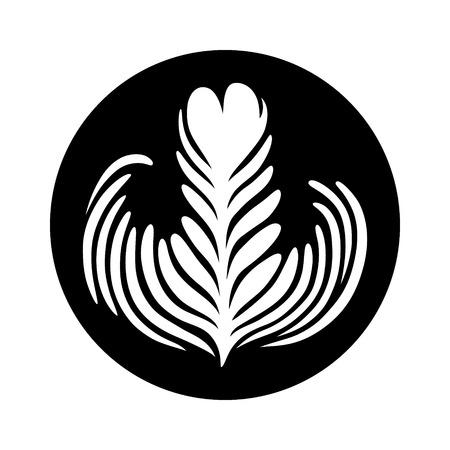 Latte / espresso art of a rosette leaf flat vector icon for coffee apps and websites Illusztráció