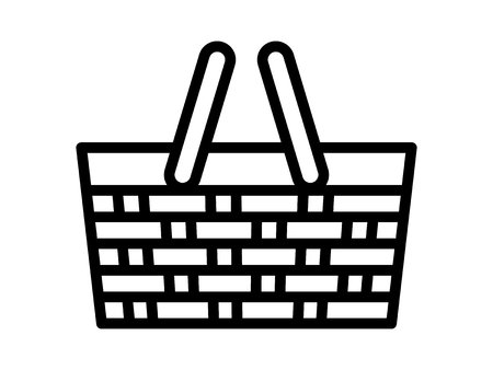 Picnic basket or picnic hamper line art vector icon for food apps and websites
