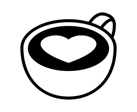 Line Art Of Heart : Cup of latte espresso art with heart flat vector icon for coffee