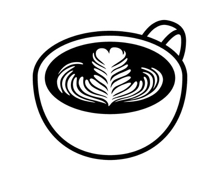 Cup of latte / espresso art with rosette leaf line art vector icon for coffee apps and websites