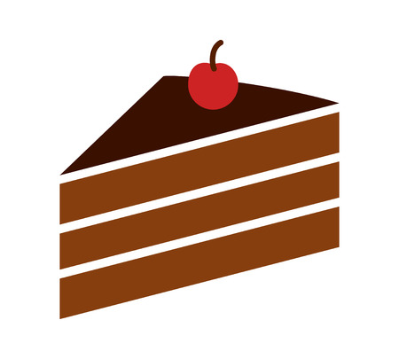 cake slice: Sliced of layer dessert cake with cherry on top flat color vector icon for food apps and websites