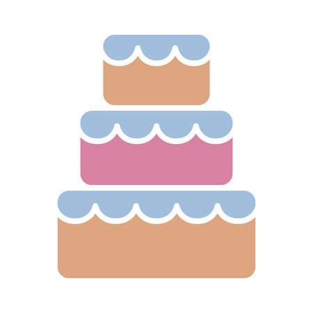 Stacked wedding cake dessert with frosting flat color vector icon for food apps and websites