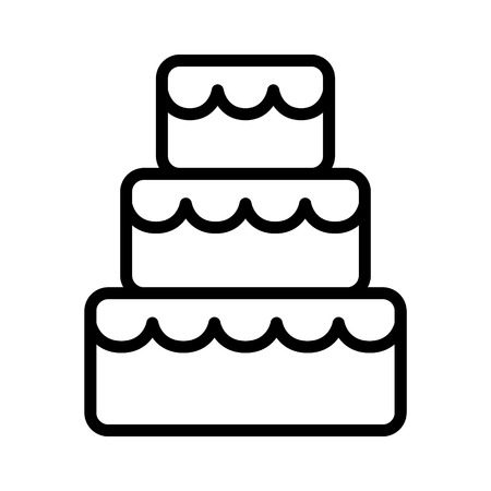 wedding reception decoration: Stacked wedding cake dessert with frosting line art vector icon for food apps and websites