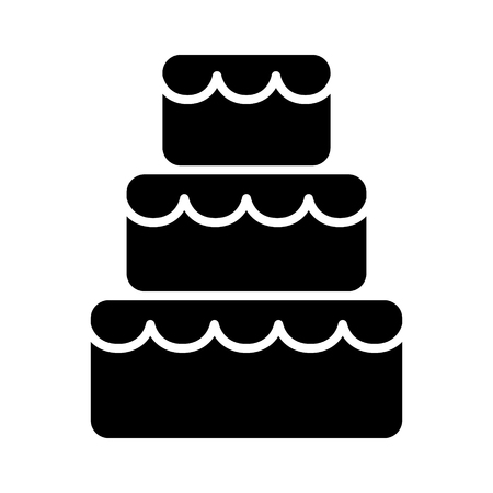 frosting: Stacked wedding cake dessert with frosting flat vector icon for food apps and websites