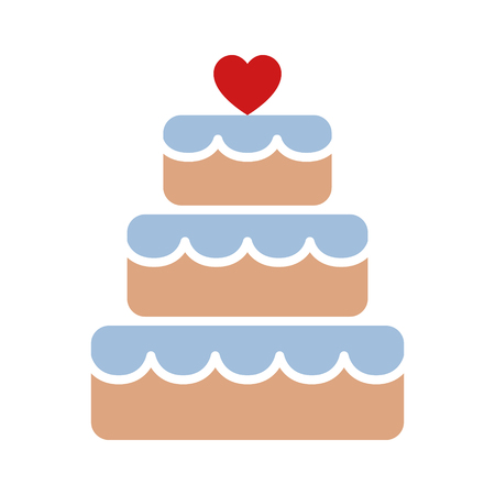 wedding reception decoration: Stacked wedding cake dessert with heart topper flat color vector icon for food apps and websites