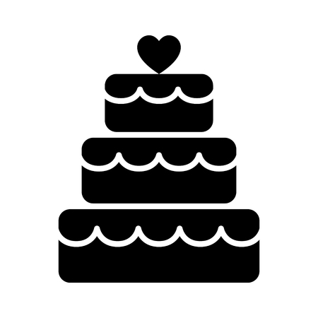 wedding reception decoration: Stacked wedding cake dessert with heart topper flat vector icon for food apps and websites
