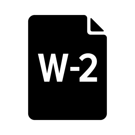 W-2 or W2 IRS tax form document flat vector icon for finance apps and websites