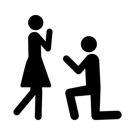 Man on his knees for a marriage proposal engagement flat vector icon for wedding apps and websites