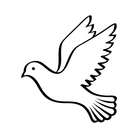 Flying bird - dove or pigeon with its wings spread line art vector icon for nature apps and websites Vectores