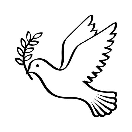 アプリとウェブサイトの平和ライン アートのベクトル アイコンの記号としてオリーブの枝を持って飛んでいる鳩  イラスト・ベクター素材