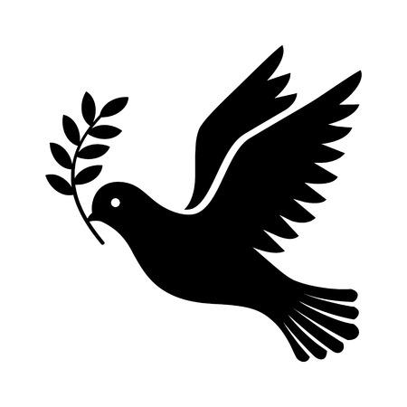 Fliegende Taube, die einen Ölzweig als Zeichen der flachen Vektorikone des Friedens für apps und Website hält