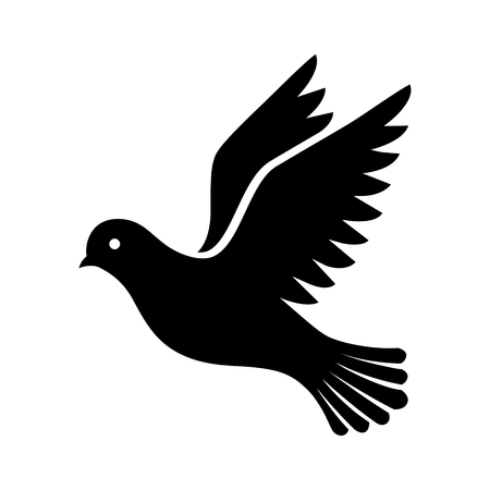Flying bird - dove or pigeon with its wings spread flat vector icon for nature apps and websites Vectores