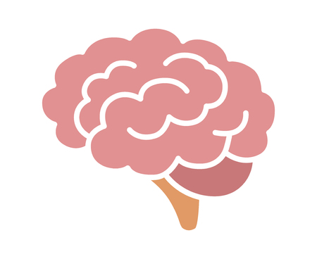 concussion: Brain or mind side view flat color vector icon for medical apps and websites