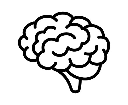 Brain or mind side view line art vector icon for medical apps and websites