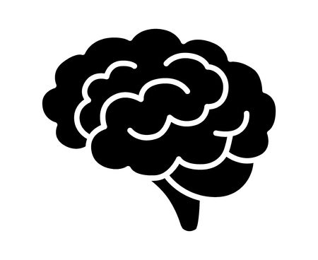 concussion: Brain or mind side view flat vector icon for medical apps and websites
