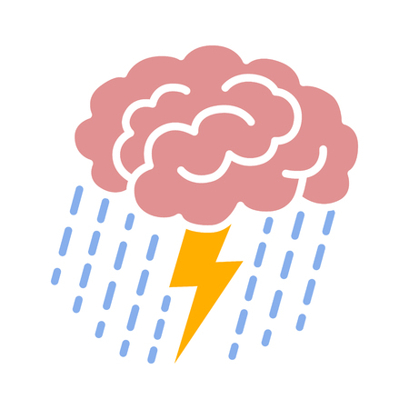 brainstorm: Brain brainstorm  brainstorming with lightning bolt and rain flat color vector icon for apps and websites