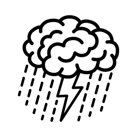 pondering: Brain brainstorm  brainstorming with lightning bolt and rain line art vector icon for apps and websites Illustration