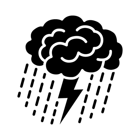 Brain brainstorm  brainstorming with lightning bolt and rain flat vector icon for apps and websites
