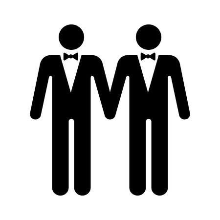 Gay marriage with two homosexual men flat vector icon for wedding apps and websites