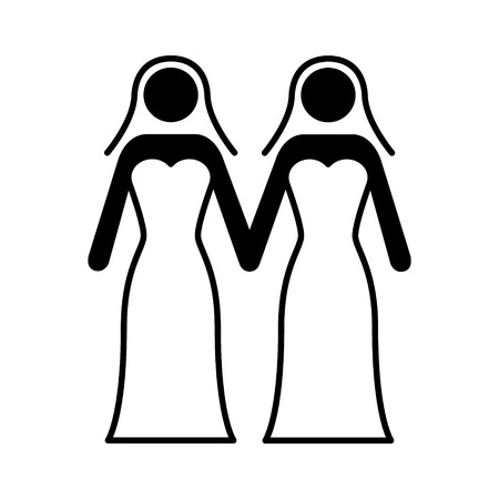 Gay marriage with two lesbian women flat vector icon for wedding apps and websites Illustration