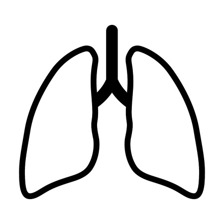 Human lung / pair of lungs line art vector icon for app and website Illustration